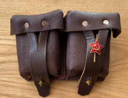 ✅🔥 Mosin Nagant 91/30 Leather Dual Ammo Pouch USSR Soviet Army