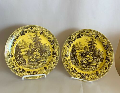 Set of 2 Antique Canary Yellow French Transferware Faience Plates Choisy 8""
