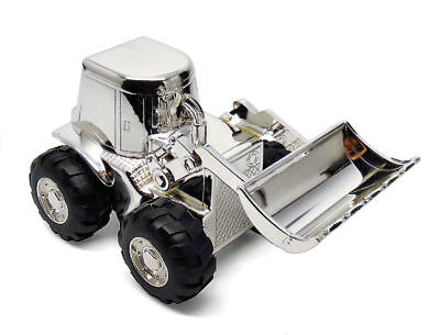 Personalised Silver Plated Digger Tractor Money Box Engraved Gift