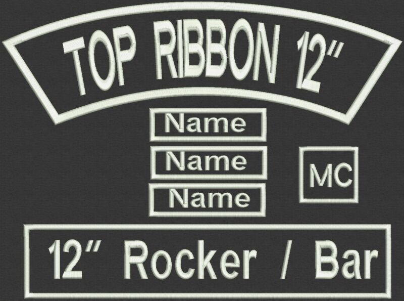 """6 Pieces Custom Embroidered Rocker bar Patch Set Biker Motorcycle Tag Badge 12"""""""