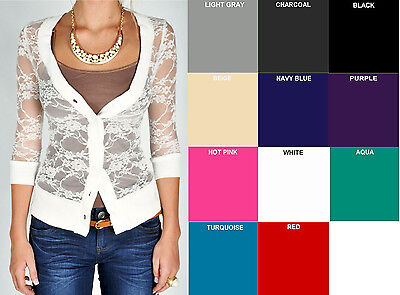 Floral Lace Cardigan Button 3/4 Sleeve V Neck Whimsy Stretch S,M,L Free - 3/4 Sleeve V-neck Button