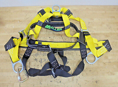Miller 8095-6myk Full Body Construction Harness Medium Back D-ring W Caribiner