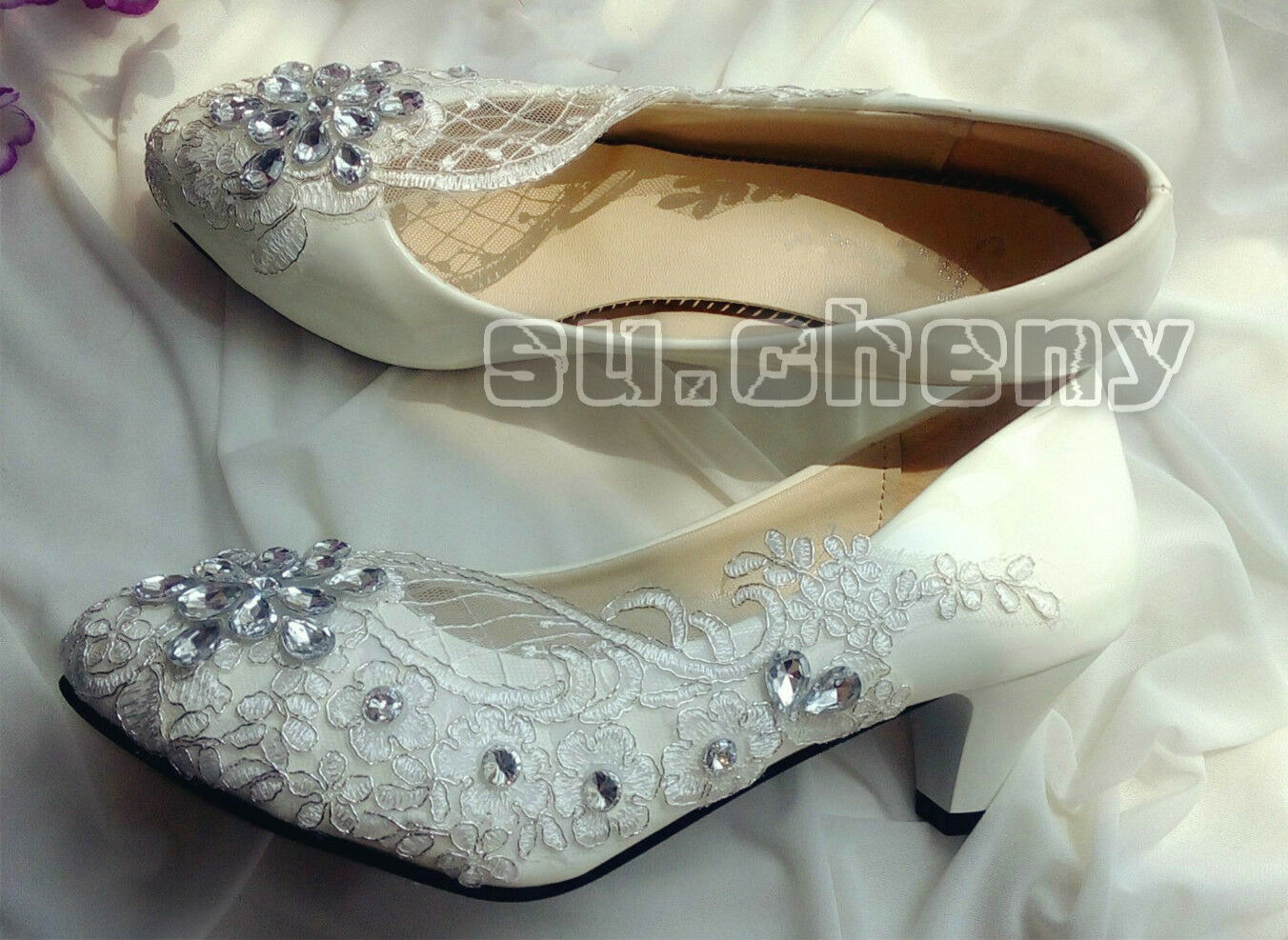 Womens Low Mid Heel Bridal Shoes Ladies Classic Diamante Party Slip On Pumps 3-9