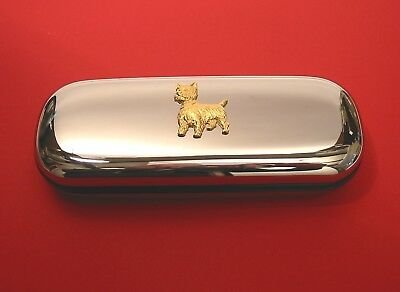 - West Highland Terrier Gold Plated Motif On Chrome Glasses Case Mother Gift