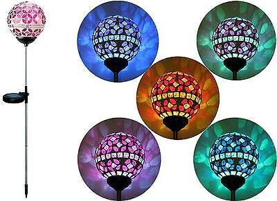(Solar Pink Glass Ball Garden Stake Outdoor Yard Lawn Color Changing LED Light)