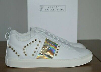 Versace Collection Gold Studded White Leather Trainers Size UK 8 EU 42 RRP £510