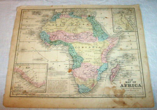 1852 AFRICA Antique Map  Hand-colored ; Soudan Ethiopia Egypt Kong Barbary Congo