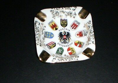 Vintage Bone China AUSTRIA OSTERREICH Souvenir Gold Trim Ashtray