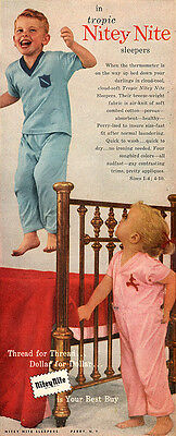 Nitey Nite Tropic Sleepers FOR BOYS AND GIRLS Jumping on the Bed 1955 PRINT AD - Night Clothes For Boys