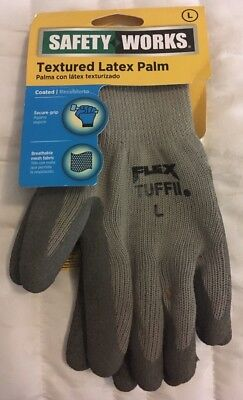 Safety Works Textured Latex Palm Gloves Size Large Style C9688L Fast Free Ship