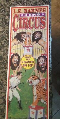 """Original Vintage L.E. Barnes Circus Poster Lions Big Top 38"""" x 13"""""""