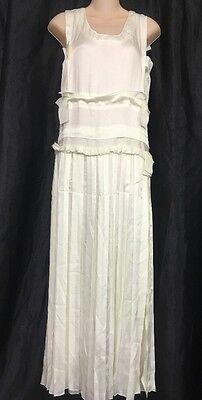 Lanvin Long Dress Ivory Pleated Drop Waist  Nwt$7650