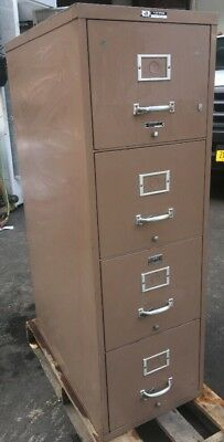 Vintage Victor 4 Drawer Vertical Fireproof File Cabinet Tan- No Key