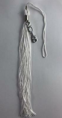 New Class Of 2018 White With Silver Charm Jostens Graduation Tassel 9