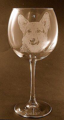 New Etched Pembroke Corgi on Large Elegant Wine Glasses - Set of 2