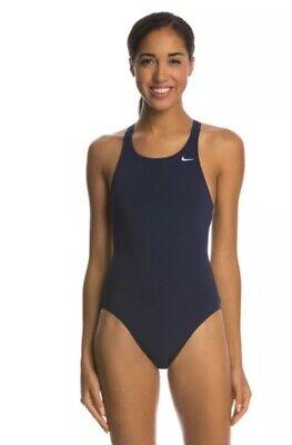 NWT Womens Nike Nylon Core Fast Back Tank Performance Swimwear Navy 34/8 (Womens Performance Swimwear)