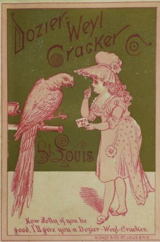 Dozier Weyl Cracker Co., St. Louis, Parrot, Trade Card P112