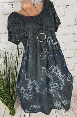 NEU ITALY SOMMER STRAND TUNIKA KLEID ❤️❤️ FLORAL MUSTER PRINT ❤️  BASALT G 40-46 - Floral Print Sommer Kleid