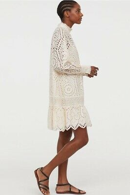 H&M Women Eyelet Embroidery Dress Natural White Size M NWT ()