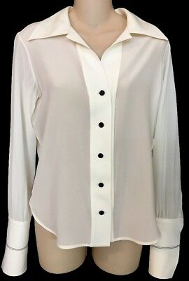 Louis Vuitton Blouse Large Cups Shirt Milk White Silk Size 36 Nwt$1340