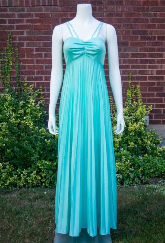 VTG 70s Mod *SEAFOAM GREEN* Pleated GRECIAN GODDESS Disco Cocktail MAXI DRESS XS