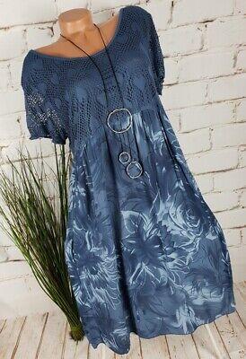 NEU ITALY SOMMER STRAND TUNIKA KLEID ❤️❤️ FLORAL MUSTER PRINT ❤️  BLAU 40-46 - Floral Print Sommer Kleid