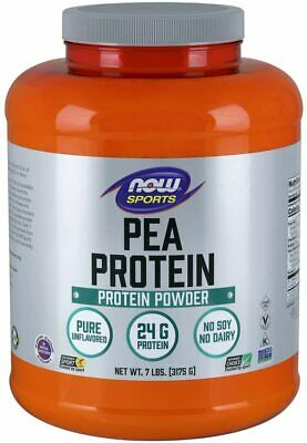 NOW Sports Nutrition, Pea Protein 24 G, Fast Absorbing, Unflavored Powder, 7 Lbs