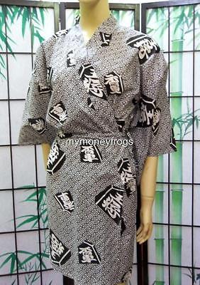 Japanese Oriental Black Cotton Lady Girl Kimono Robe Trad...