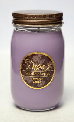 Lavender Vanilla 16oz Mason Jar Highly Scented Papa's Candle Shoppe,Soy Candle   - Lavender Vanilla Candles