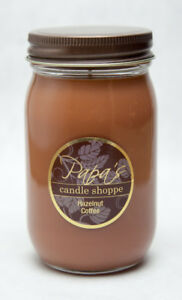 Papa's Candle Shoppe Hazelnut Coffee 16oz Mason Jar, Highly Scented Soy Candles!