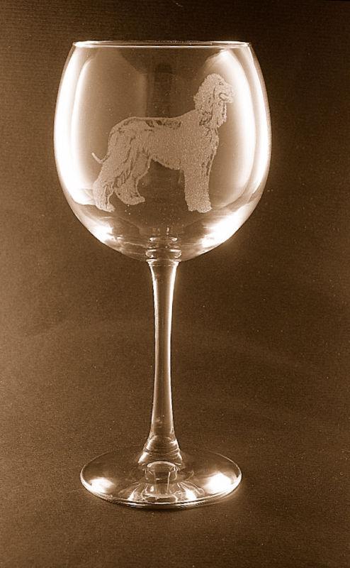 New! Etched Afghan Hound on Large Elegant Wine Glasses - Set of 2