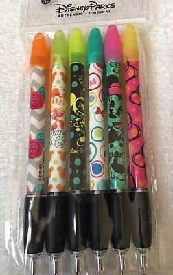 Disney Parks Minnie Mouse Designs 6 Pack Pen Set Black Ink