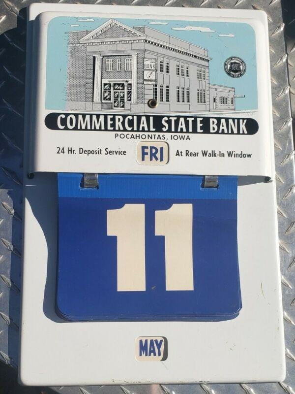 Vintage POCAHONTAS Iowa COMMERCIAL STATE BANK Metal Perpetual Calendar Sign Rare
