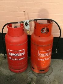 Calor Gas Cylinders with change over kit attachment