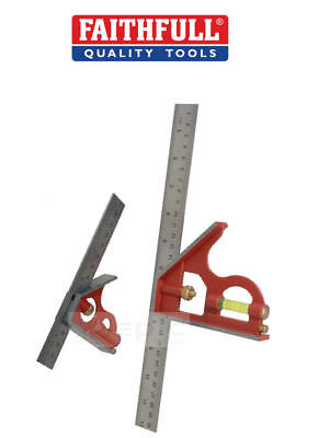 """Faithfull 150mm 6"""" & 300mm 12"""" Combination Square Ruler/Scribe Metric/Imperial"""