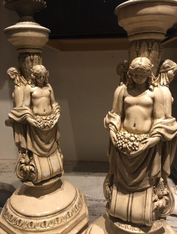 French Antique Roman Caryatid Figural Nude Candlestick (2) Neoclassical Torchere