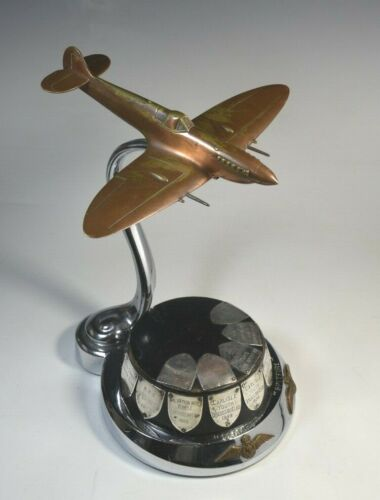 Vintage Airplane Spitfire Desk Model Supermarine Factory Display Aviation 1940s