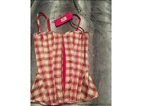 M&S tartan basque/corset size 8