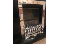 Chrome Fire place & black gloss wood surround