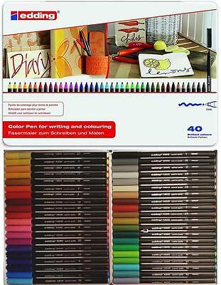 Edding 1300 Color Pen Set 40 Filzstifte Fasermaler im Metalletui Nr. 4-1300-40