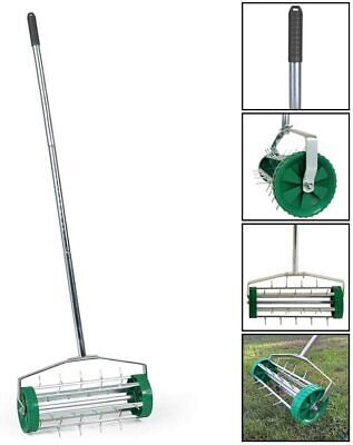 Gardening Duty Lawn Aerator Grass Roller 3 Level Adjustable Telescopic Handle Pp