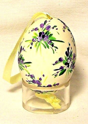 Genuine Hand painted Duck Egg w Purple/Green Floral Easter Tree Ornament Poland
