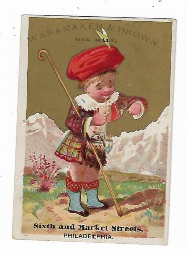 Trade Card Wanamaker & Brown Oak Hall Philadelphia Little Boy Scotland Kilt