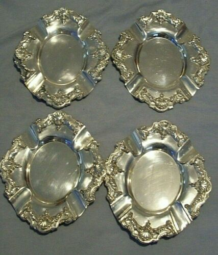 4 Antique Silver Plate Ashtrays -  Ornate - Ind Argentina Rep Sheffield Rodin