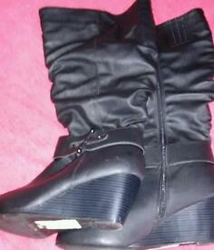 Ladies size 8 wide fit wedge boots