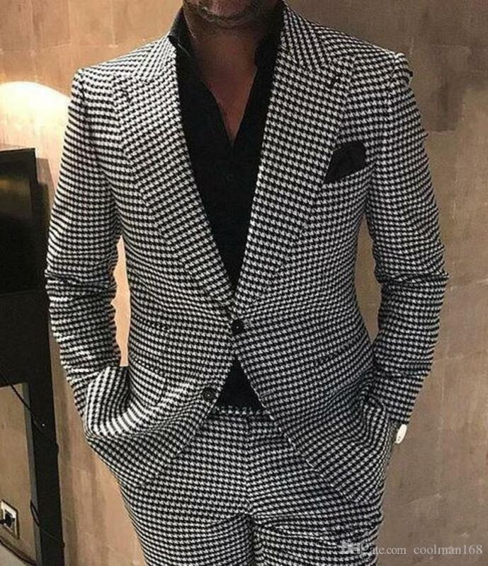 Houndstooth Groom Lapel Men Suits for Man Wedding Jacket Blazer Dogstooth Prom