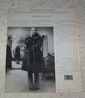 1972 print ad - Geoffrey Beene Dan Grossman EMBA American Mink fur Coat ADVERT