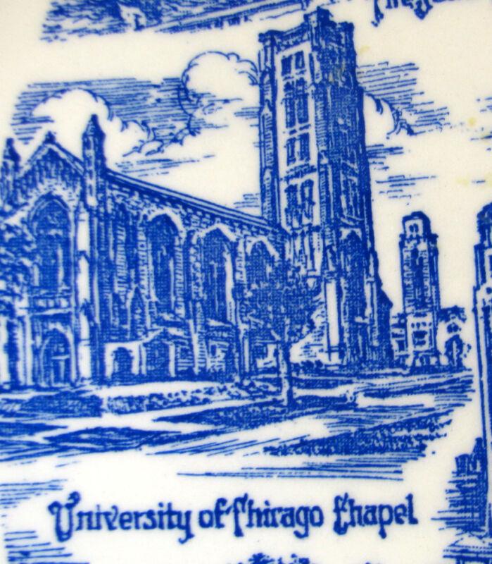 Vintage CHICAGO (Artist: Klinker) Blue Collector's Plate*Vernon Kilns Pottery