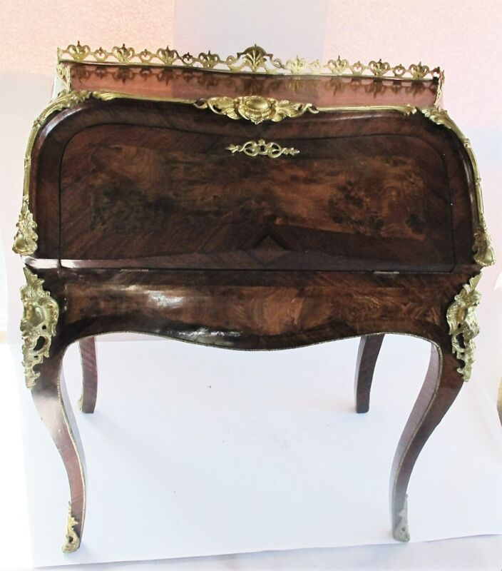 Rare FRENCH LOUIS XV Bombe Kingwood & Burlwood Bureau de Dame  c. 1870  antique