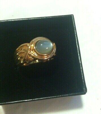 Vintage NIB Technibond 18k YG over Sterling Silver Grey Moonstone Ring Sz10 NEW
